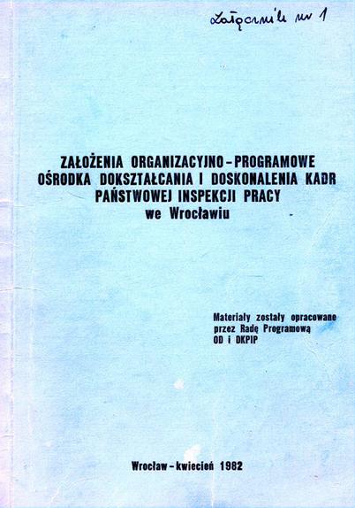 Okładka założeń organizacyjno-programowych Ośrodka Dokształcania i Doskonalenia Kadr Państwowej Inspekcji Pracy