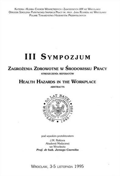 Okładka sympozjum na temat zagrożeń zdrowotnych w środowisku pracy