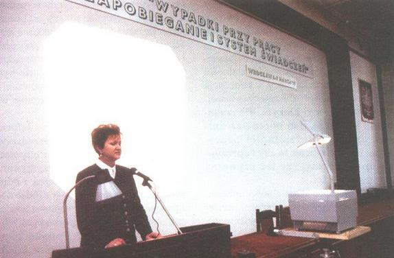 Wykład podczas seminarium na temat wypadków przy pracy